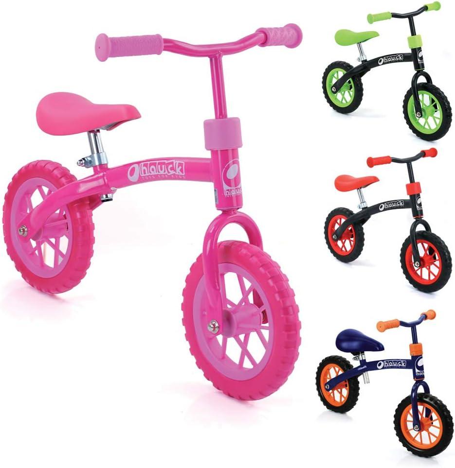 Bicicletas sin pedales para niños E-Z Rider de Hauck Toys - rueda de 10 pulgadas, para niños a partir de 2 años, manillar y sillín ajustables en altura, rosa.