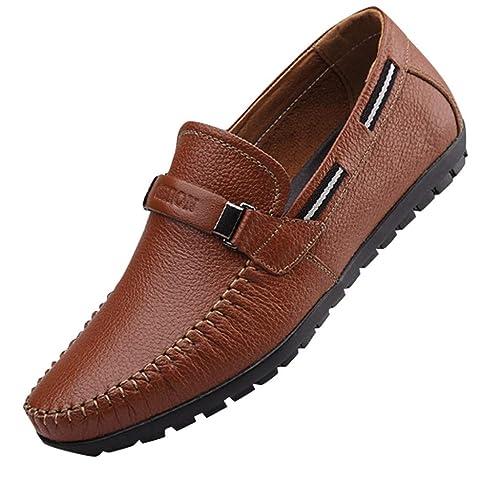 ESAILQ -Mocasines Hombres Zapatos de Vestir Casuales Holgazanes Slip On Verano Plano Cuero Zapatos de Conducción Zapatillas: Amazon.es: Zapatos y ...