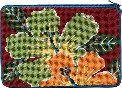 - Stitch & Zip Needlepoint Cosmetic Purse Kit- Bright Hibiscus