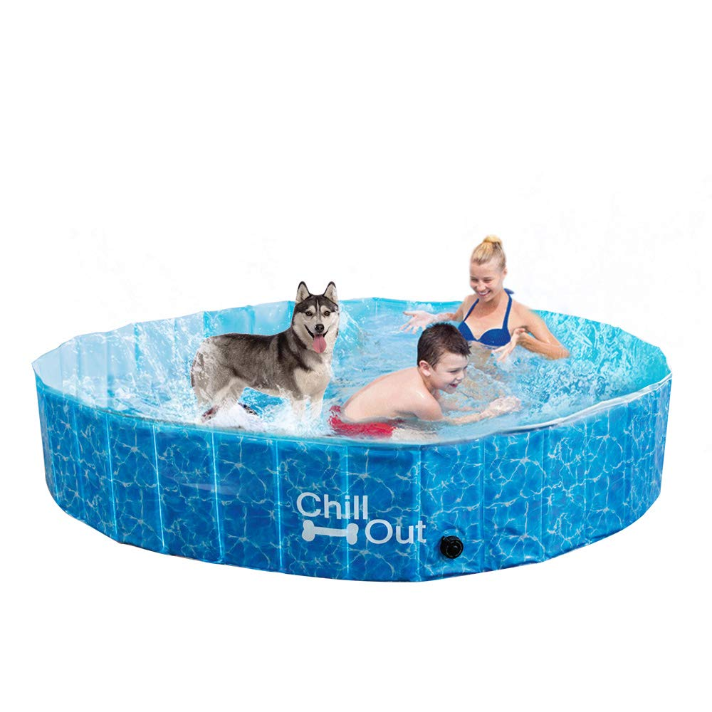 All for Paws Extra Large Dog Swimming Pool, Collapsible Pet Bathing Tub, Anti-Slip, 3 Years Lifespan, Great for Dogs and Kids