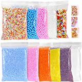 Ohuhu Foam Balls for DIY Slime, 14 Packs Approx 60,000 PCS Decorative Slime Beads for Arts Crafts, Homemade Slime, Fruit Flower Candy Slices for Nail Art for Student Children Kids Christmas Gifts