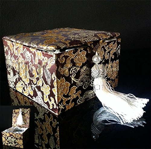 Fine Brocade Silk Wedding Invitation Box In Black And Gold With Rhinestone Buckle
