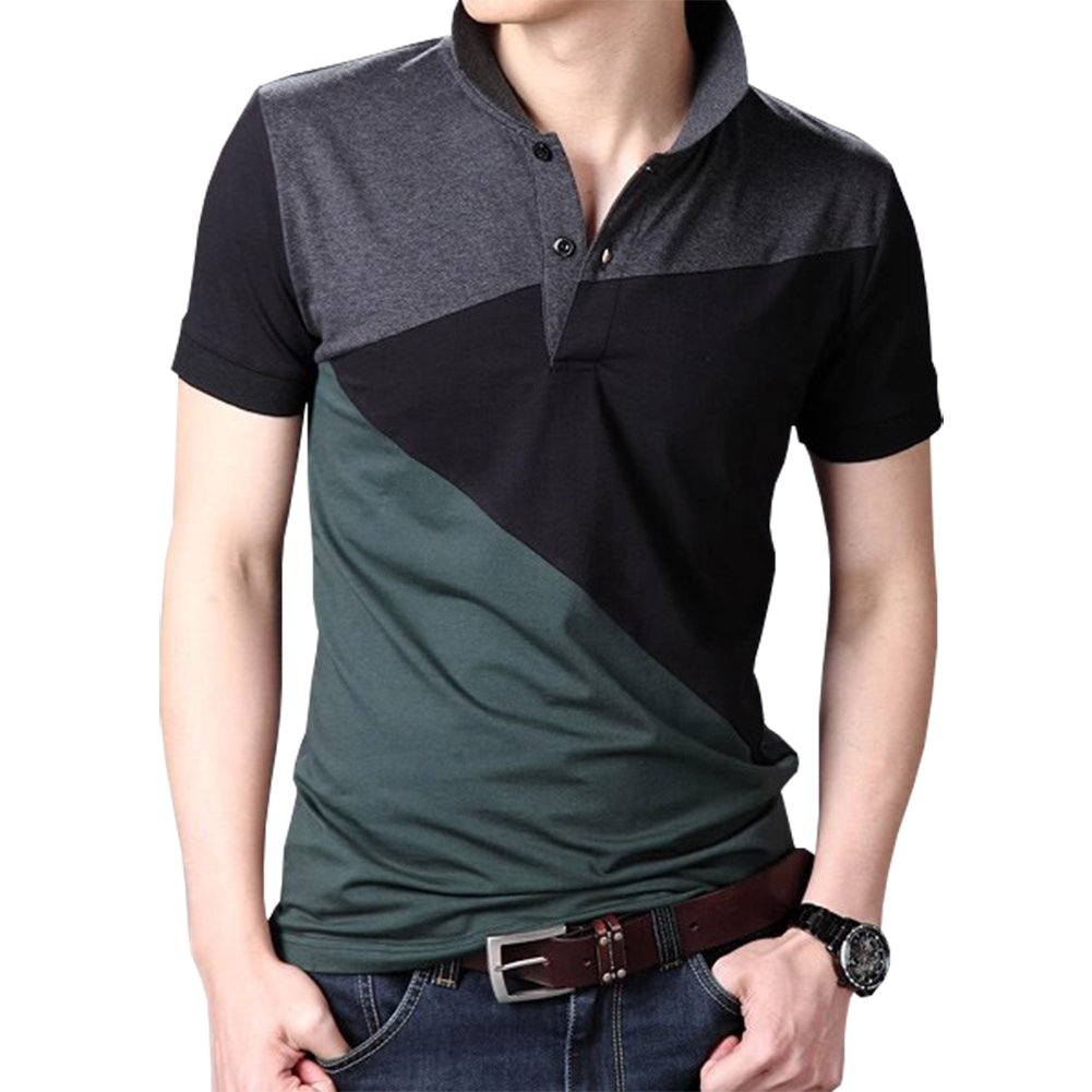 Womleys Mens Color Blocked Slim Fit Short Sleeve Casual Polo T Shirt (US Small, Gray (Back))