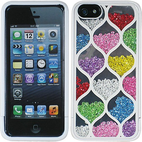 Red Pink Purple Green yellow Blue Rainbow Hour Glass Shape Bling Rhinestone Crystal Shaker Case Cover Diamond For Apple iPhone 5 5S with Free Pouch