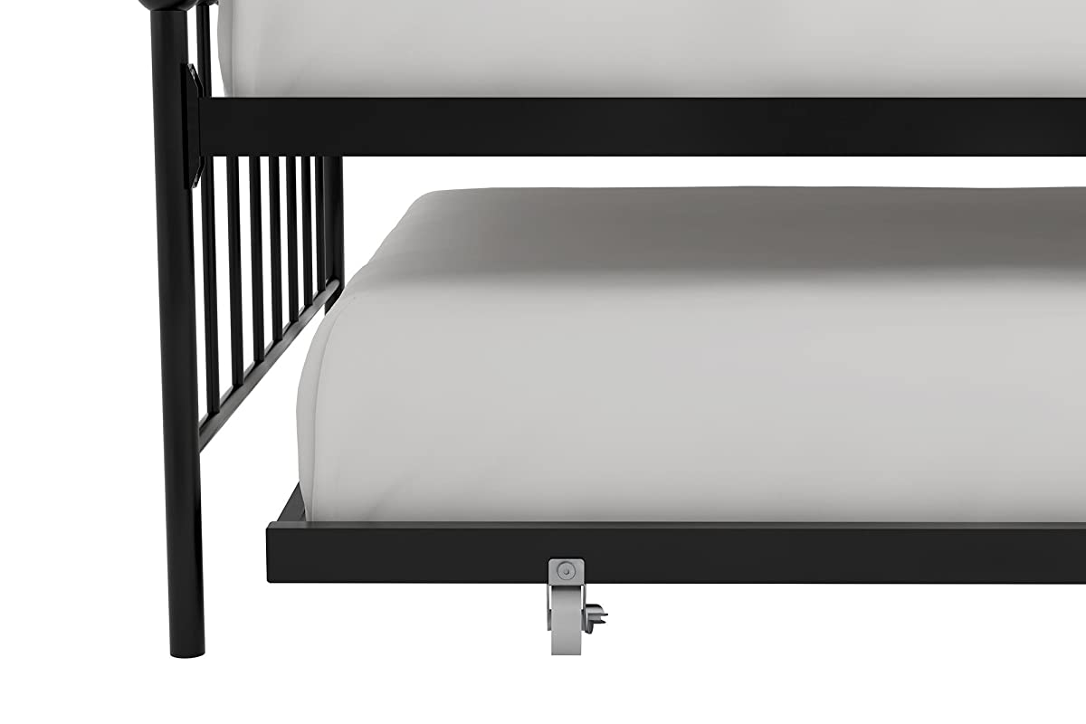 Novogratz Bright Pop Twin Metal Daybed and Trundle, Stylish & Multifunctional, Built-in Casters, Black