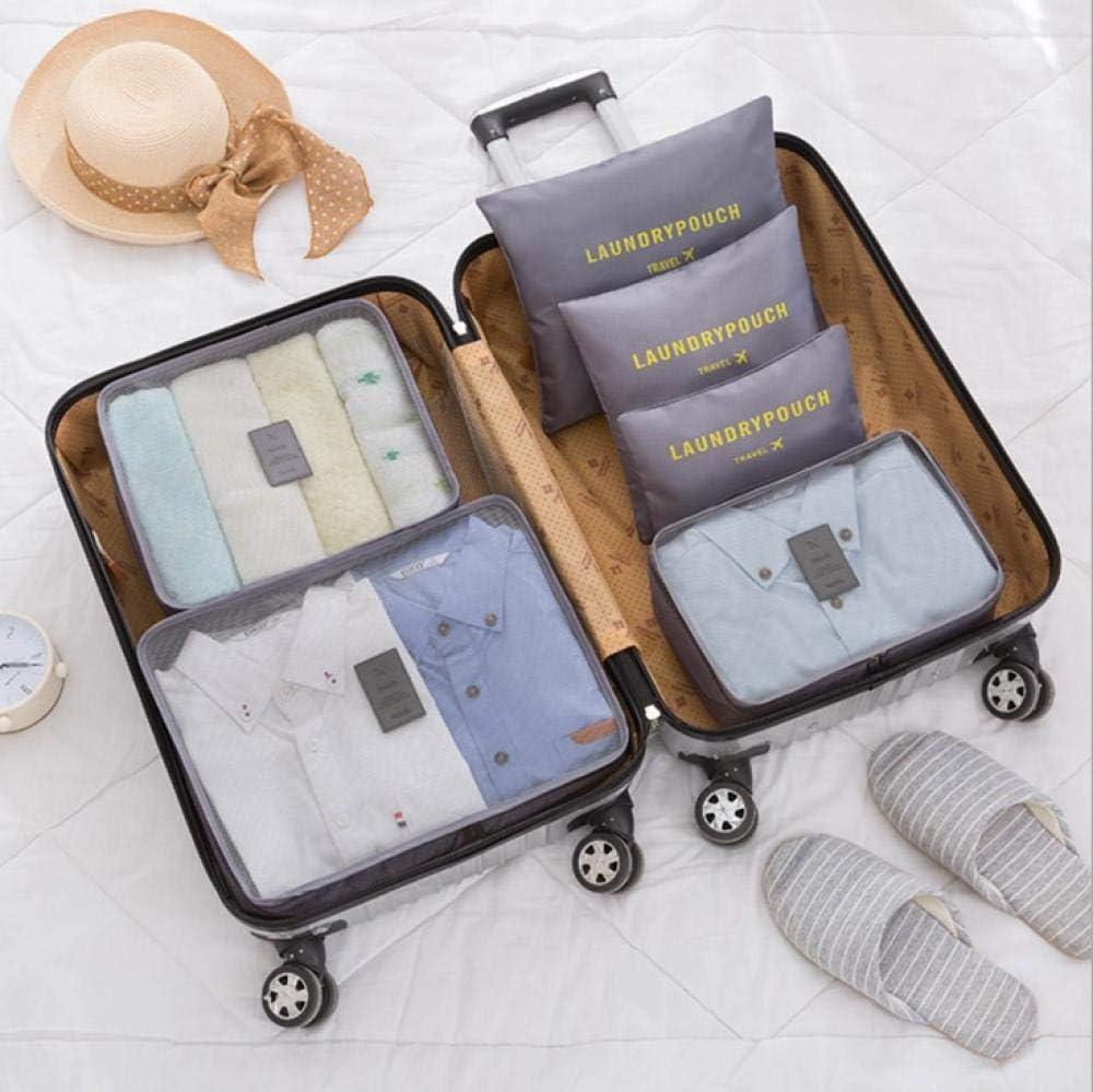 Bolsa de almacenamiento portátil de viaje de 6 piezas Maleta grande ropa de viaje bolsa de clasificación lavado cosmético acabado de almacenamiento gris