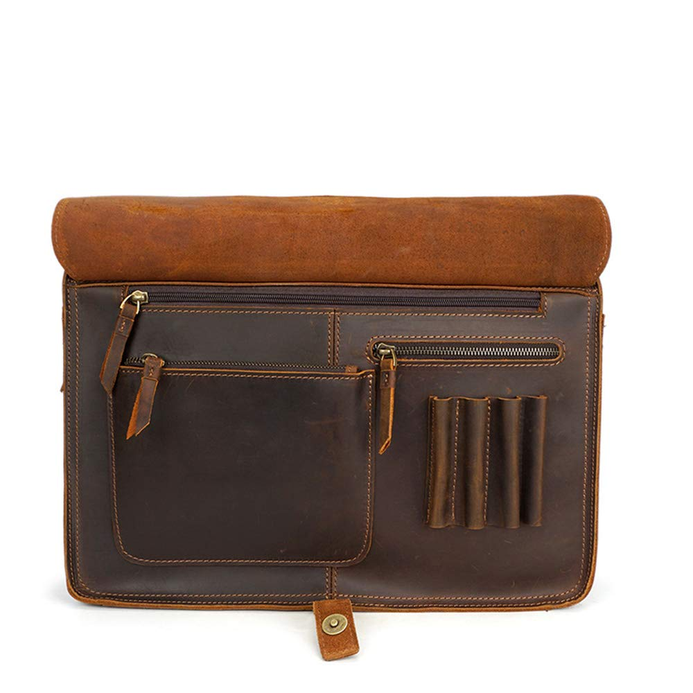MLMHLMR Mens Tote First Layer Leather Casual Briefcase Crazy Horse Leather Shoulder Crossbody Bag 39x11x30cm Briefcase Black//Brown Color : Black