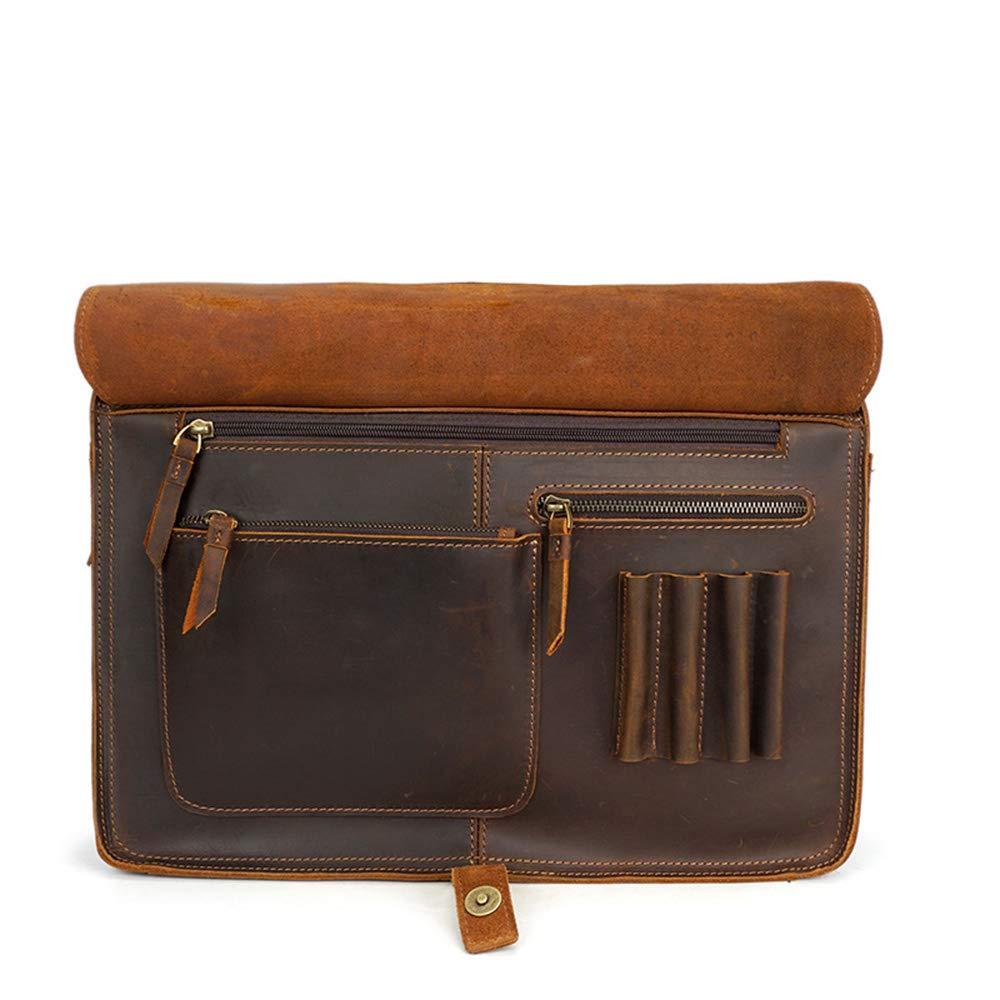 crystalzhong Color : Brown Unisex Messenger Briefcase Mens Briefcase Large Capacity Long Strap Shoulder Tote Bag Leather Handbag with Cover Elegant Business Carrying Case