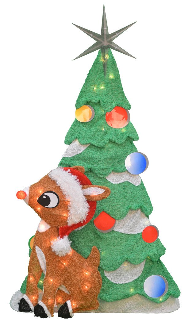 ProductWorks 32-Inch Pre-Lit Rudolph and Christmas Tree Christmas Yard Decoration, 50 Lights