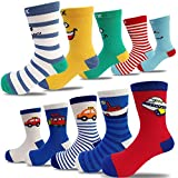 10 Pairs Kids Toddler Boys Girls Colorful Novelty Fashion Cotton Crew Socks(7-11 Years)