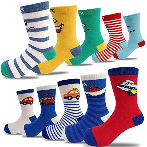 (10 Pairs Kids Toddler Boys Girls Colorful Novelty Fashion Cotton Crew Socks(5-7 Years))