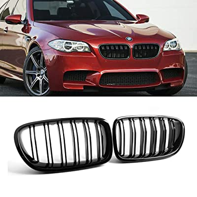 SNA F10 Grille, Front Kidney Grill for 2010-2016 BMW 5 Series F10 F11 And F10 M5 (Double Slats Gloss Black Grill, 2-pc Set): Automotive