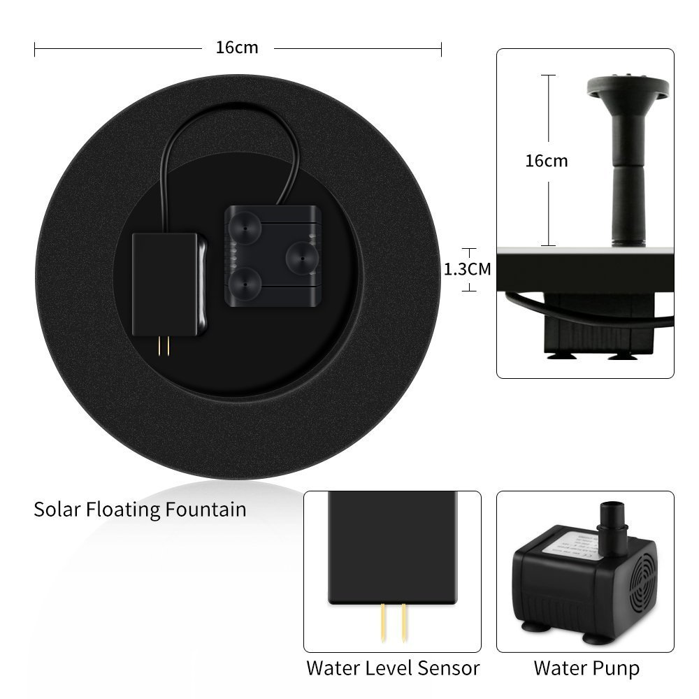 LUXJET Solar Fountain Pump with Battery Backup, 1.5W Solar Powered Floating Water Pump Kit for Bird Bath Outdoor Pond Garden Pool,Rechargeable Battery, Auto Shutoff System