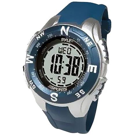 Pyle PSWTM34BL - Reloj con brújula digital y cronógrafo