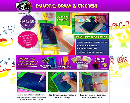 Magic Sketch Deluxe KIT | LCD Writing Board, Drawing, Doodle, Learning Tablet | Includes Protective Cover, 60 Stencils, 4 Styluses, 1 Stamp Roller & 3 Stamps | Kids, Office, School, House, Car Rides by Boogie Board (Image #1)