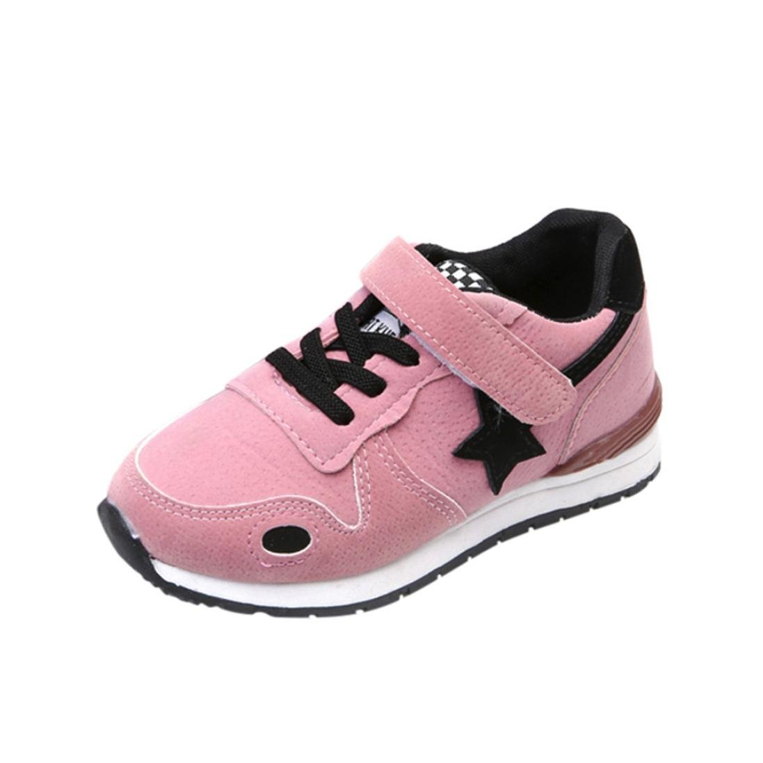 FEITONG Toddler Kids Sport Running Shoes Boys Girls Star Mesh Shoes Sneakers (US:10.5, Foot Length:7.1'', Pink)