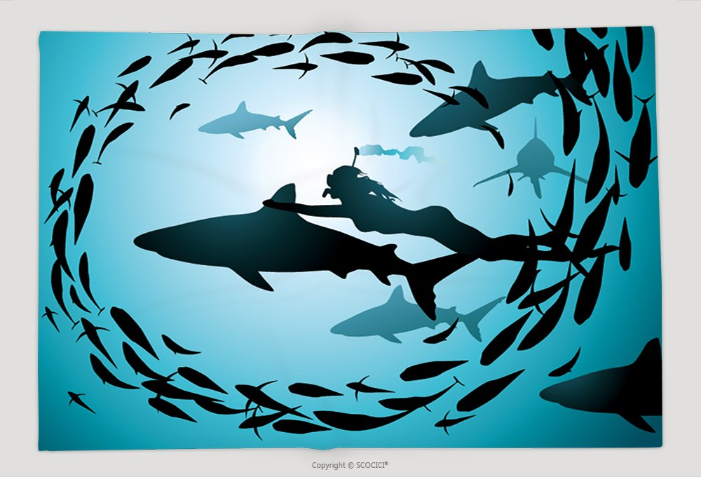 Supersoft Fleece Throw Blanket The Girl Floats Together With Flight Of Sharks And Among A Jamb Of Fishes 84659890 by vanfan
