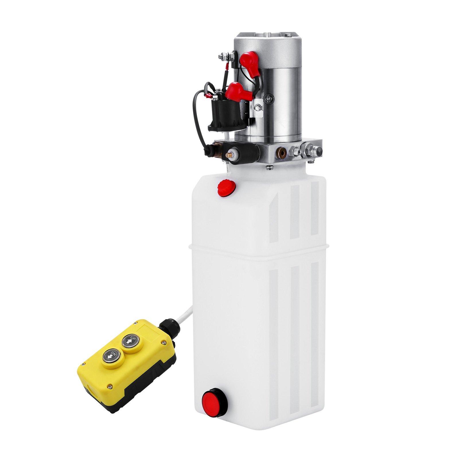 CNCshop Hydraulic Pump 10 Quart Single Acting Hydraulic Power Unit 12V DC Plastic Tank Hydraulic Pump Unit with Remoter for Dump Trailer