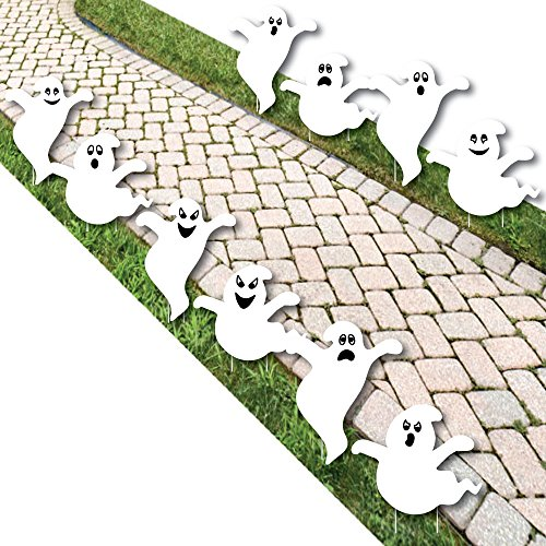 Spooky Ghost - Ghost Shape Lawn Decoration Signs - Outdoor Halloween Yard Decorations - 10 Piece]()