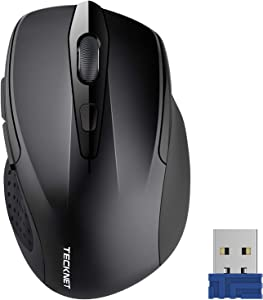 TeckNet Pro 2.4G Ergonomic Wireless Optical Mouse with USB Nano Receiver for Laptop,PC,Computer,Chromebook,Notebook,6 Buttons,24 Months Battery Life, 2600 DPI, 5 Adjustment Levels