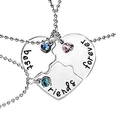 26f0a0eeeb5a1 Amazon.com: Best Friend Forever BFF Friendship Puzzle Heart Pendant ...