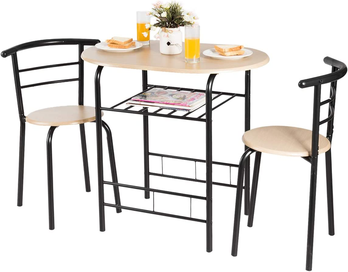 Amazon Com Giantex 3 Piece Dining Set Compact 2 Chairs And Table Set With Metal Frame And Shelf Storage Bistro Pub Breakfast Space Saving For Apartment And Kitchen Natural Black