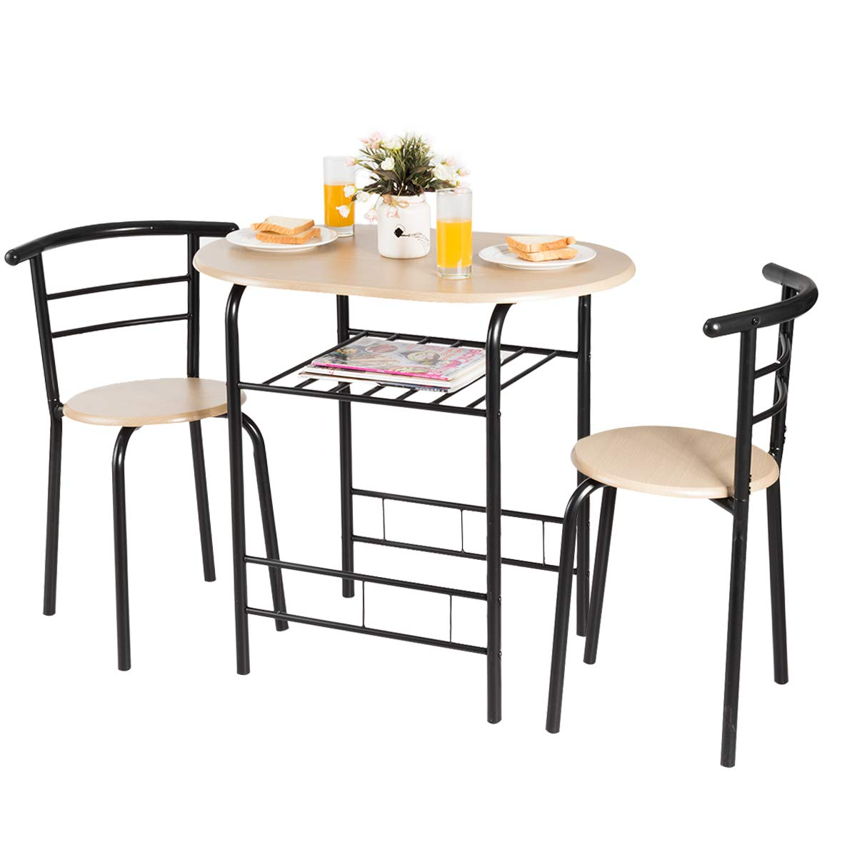 Giantex 3 Piece Dining Set Compact 2 Chairs and Table Set with Metal Frame and Shelf Storage Bistro Pub Breakfast Space Saving for Apartment and Kitchen (Natural & Black)