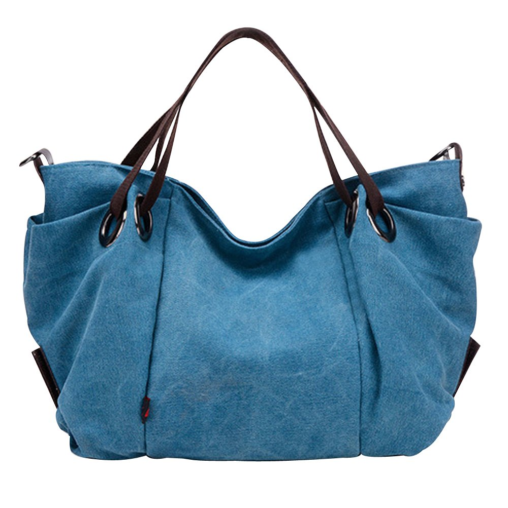 Flowertree Women's Slouchy Pleated Canvas Hobos Bag Tote Shoulder Bag (blue)