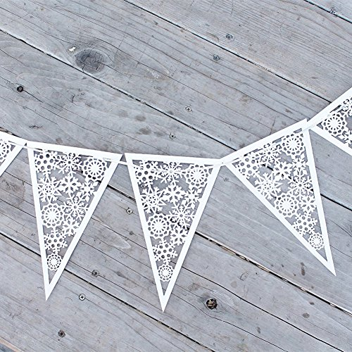 JANOU Snowflake Paper Garland Hanging Banner for Christmas Wedding Birthday Party Decoration