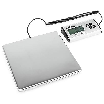 oneConcept Marketee balanza digital para paquetes 150kg 27x27 cm (Báscula digital de precisión, intervalos