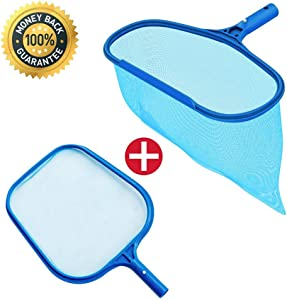 KATEVO Fine Mesh Pool Net, Professional Pool Skimmer, Swimming Pool Leaf Net for Cleaning Pool Rake Pool Cleaning Supplies, Set of 2