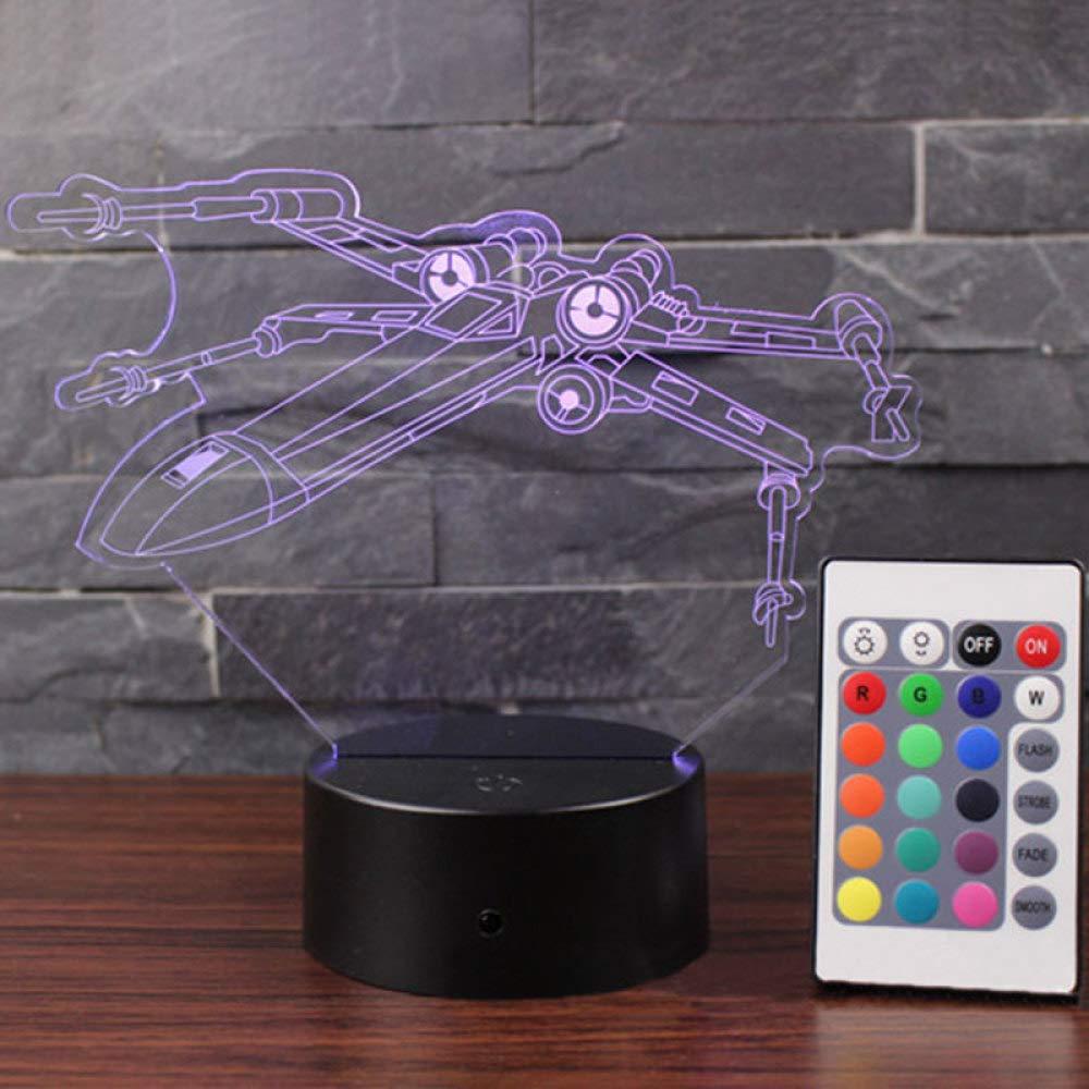 Wangzj X Air Plane 3D Night Light/Remote 7 Color Base Black ...