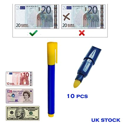 Cooltechstuff – 10 pcs falsos falsificados forjado notas dinero efectivo moneda Detector Checker Tester Marker Pens