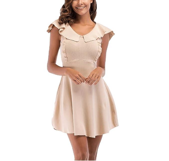 FuweiEncore Vestido de Verano para Mujer Vestido de Punto Vestido de cóctel para Uso Diario Vestido