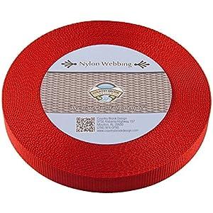 Country Brook Design | Heavy Nylon Webbing (1 inch) (Red, 10 Yards)