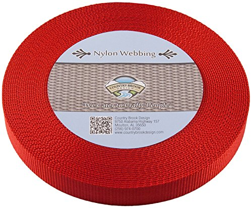 Country Brook Design | Heavy Nylon Webbing (1 inch) (Red, 10 Yards)