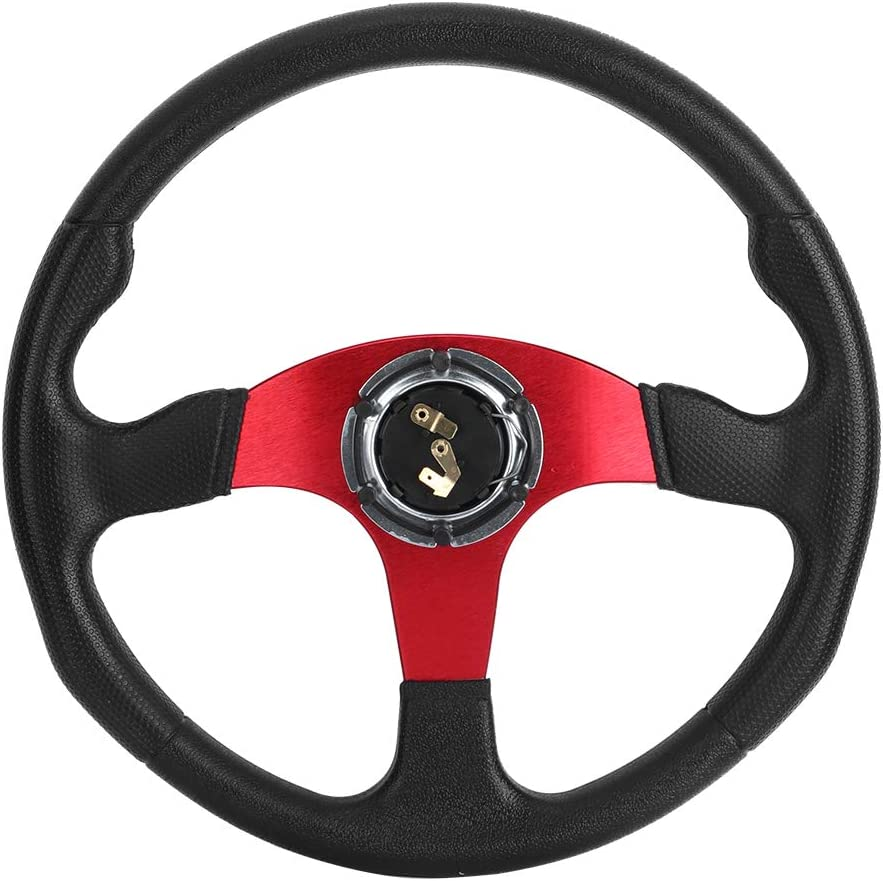 Akozon Racing Car Sport Steering Wheel Deep Dish 6 Bolts 350mm//14in Universal Modified Accessory Black