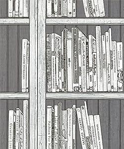 Statement bookcase wallpaper 97250 black silver for Statement kitchen wallpaper