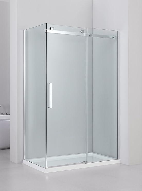 Yellowshop - Mampara de ducha con puerta corredera reversible de vidrio templado de 8 mm, transparente, disponible en varias medidas: Amazon.es: Bricolaje y herramientas