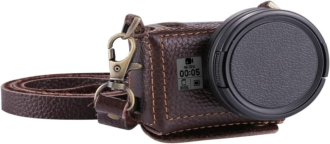 Color : Black for GoPro HERO7 Black //6//5 Litchi Texture Genuine Leather Housing Case with Set Key Hole /& Neck Strap /& 52mm UV Lens Durable
