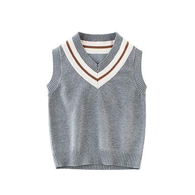 37f74ddb9 Amazon.com  AIKSSOO Toddlers Kids Sweater Vest V-Neck Argyle Vest ...