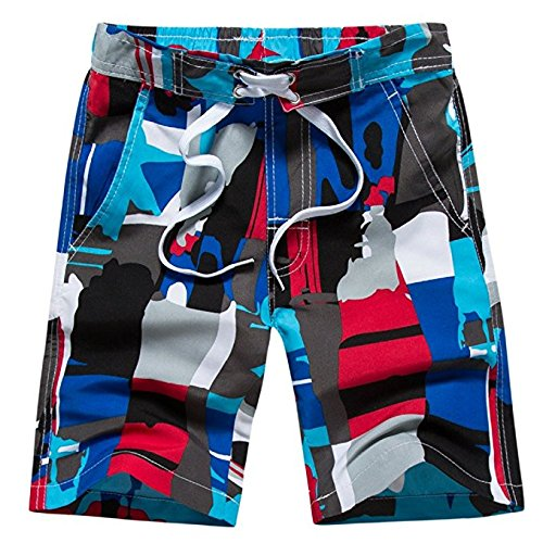Tailor Pal Love Boy Quick Dry Shorts Swim Trunks Colorful Pattern Shorts with Mesh Lining and Pockets Red and Blue X-Large