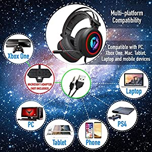 [NEWEST 2018 UPGRADED] Gaming Headset for XBox One, PS4, PC - 7.1 Best Surround Stereo Sound, Noise Cancelling Mic, 3.5mm Soft Breathing Over-Ear Game Headphones - USB LED Laptop, PS3