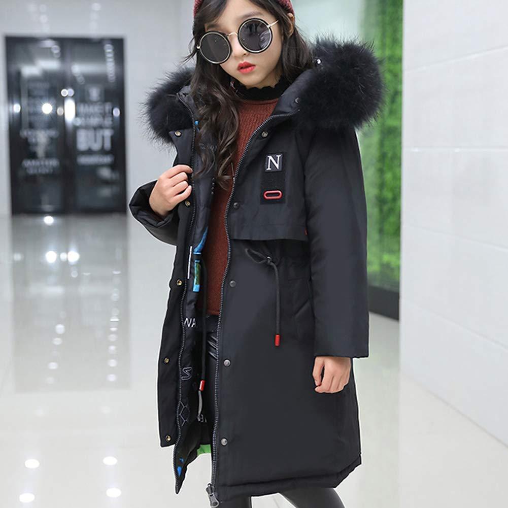 Big Girls Fashion Down Coat Puffer Jacket Winter Warm Parka Kids Hooded Outwear Overcoat