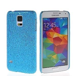 CASEPRADISE Glitter Shiny Rubberized Hard Coating Back Cover Case For Samsung Galaxy S5 I9600 Blue