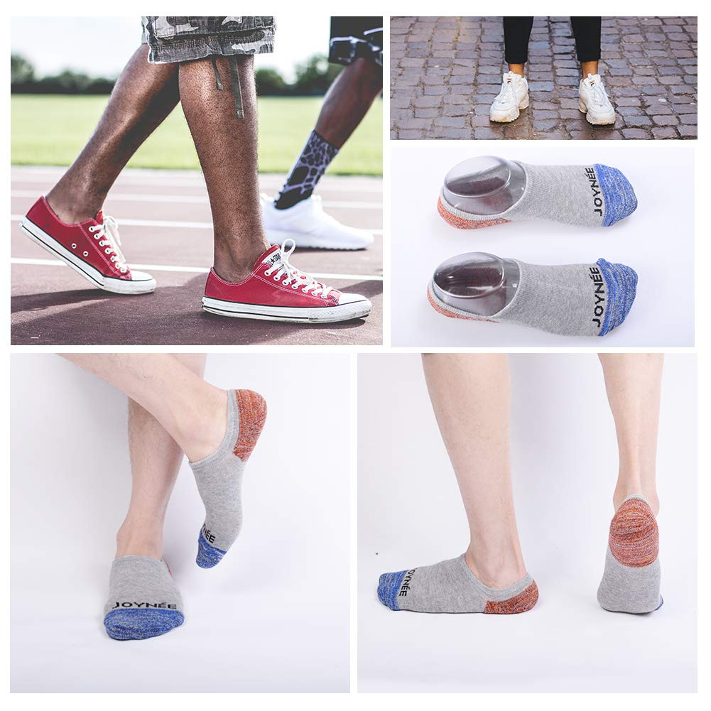 JOYN/ÉE Mens Cotton Low Cut No Show Socks with Silicone Casual Non Slip 6 Pack