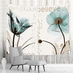 Rustic Elegant Teal Tulip Flower Tapestry, Vintage Spring Floral Tulip Flowers in Beige Wall Tapestry Hangs, Hippie Tapestries for Home Decorations Dorm Decor Living Room Bedroom Bedspread, (71X60in)