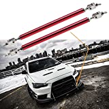 2pc Adjustable 8''-11'' Front Bumper Lip Splitter Diffuser Strut Rod Tie Bars Fit Most Vehicles[Red]