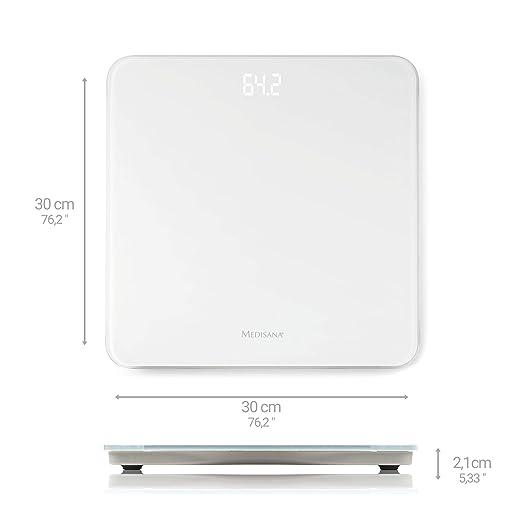 Medisana PS 435 - Báscula de baño con pantalla LED, color blanco: Amazon.es: Salud y cuidado personal