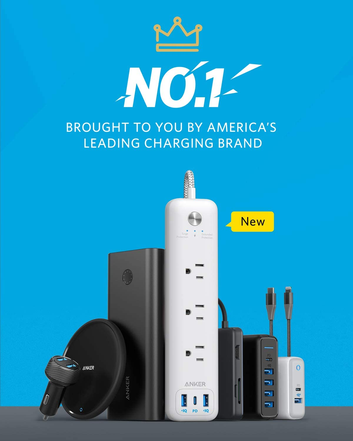 Office Flat Plug Anker 3 Outlets and 30W 3 USB USB C Power Strip with Power Delivery Dorm Room 1 USB C, 2 USB A for Home Surge Protector PowerPort Strip PD 3 with 6ft Long Extension Cord